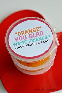 Orange you glad we're friends Valentines. Fun Valentines ideas for the classroom. Non candy Valentines ideas.