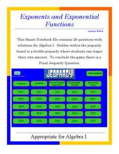 Algebra Ii Smartboard Jeopardy Game  Quadratics And Polynomials