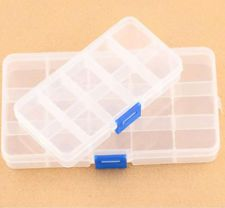 Plastic 15/10 Slots Adjustable Jewelry Storage Box Case Craft Organizer Beads