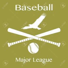 Vector illustration with baseball bats, ball and eagle. Design for banner, poster or print. Eagle Sports, Eagle Vector, Baseball Bats, Art Designs, Graphic Art, Banner, Illustration, Poster, Ideas