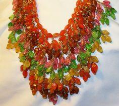 Breathtaking RARE Miriam Haskell 1940s Glass Bead FRINGE Bib Signed Necklace