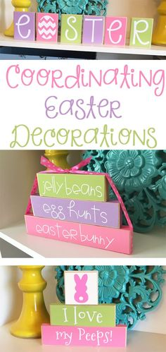 Coordinate your Easter Decorations! The pastel colors of these cute blocks are perfect for spring! I want these on my shelves! #easter #easterdecor #easterbunny #spring #springdecorating