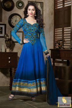 Pavitraa Blue with Cobalt Blue Floor Length Anarkali Suit #anarkalisalwarsuits #onlinesalwar