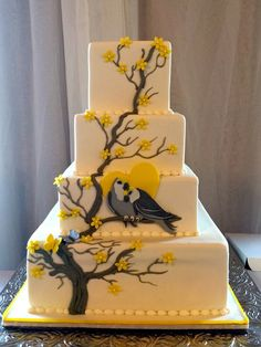 Love Birds, tree cake, branch cake, yellow and grey cake, flowers