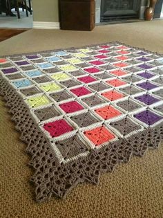 I like the way the border colors are in the afghan diagonally..