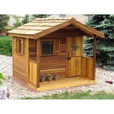 Cedar Shed Log Cabin Cedar Playhouse - Outdoor Playhouses at Hayneedle
