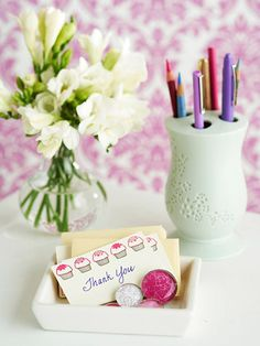 Toothbrush Holder to Pencil Organizer - OR MAKEUP BRUSHES!  Think outside the box and turn regular bathroom organization into home office storage. Use a decorative toothbrush holder for writing utensils and let a soap dish store business cards and other small items.