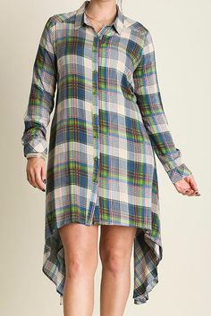 Looking for something unique to add to your fall wardrobe this season? Look no further! We are in love with this versatile plaid button down shirt dress. It's super easy to style and looks effortless for everyday wear. Pair with some leggings and flats or your favorite skinnies and boots and you're ready to go! The dress falls a little bit longer on the sides than the front and back.   Plaid Shirt Dress by Umgee USA. Clothing - Dresses Indiana