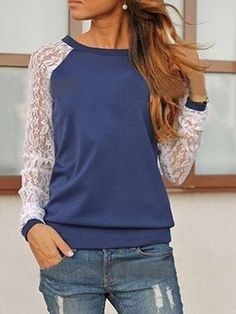 Lace Spliced Long Sleeve Chic Top