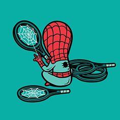 'Part-Time JOB Sport Shop' Funny Parody Super Hero Stringing Tennis Racquets 18x18 - Vinyl Print Poster