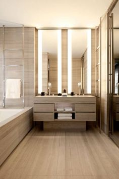 Small Brown Wooden Bathroom Design Which Look Spacious With Mirror Around