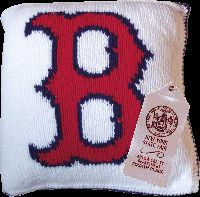 knitted Boston Red Sox pillow