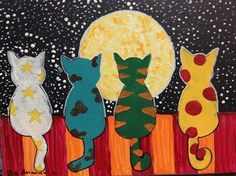 "Cats at Night Lesson # Painting School ""Moon Watchers"" Artsonia Art Museum :: Artwork by - Kunst grundschule - Katzen Arte Elemental, Art For Kids, Crafts For Kids, Cat Quilt, Art Portfolio, Art Club, Art Plastique, Art Activities, Teaching Art"
