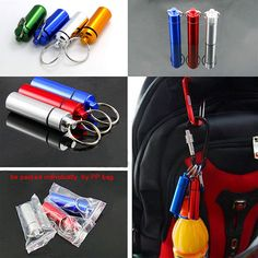 1 PCS Waterproof Aluminum Pill Box Case Drug Medicine Keychain Holder Container For Travel