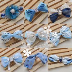 定制 丝带缎带绸带韩版蝴蝶结发饰头饰发夹DIY材料包配件套餐套装 蓝色