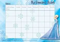 Picture Of The Free Frozen Reward Chart (Elsa) Girls  Free Reward Charts To Download