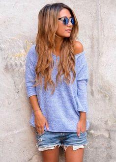 cozy sweatshirt & cutoffs.. perfect summer night outfit!