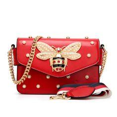 ad77112377a9 30% СКИДКА|Модные женские туфли сумка новый бренд кожаная женская сумка  Роскошные Алмаз Пчелка женщина Сумки ремень сумки Розовый и красный цвет  купить на ...