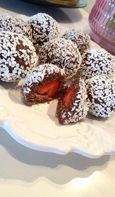 Chokladbollar med jordgubbar