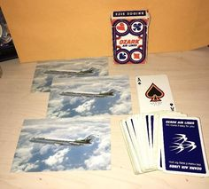 Vintage Ozark Airlines Playing Cards Lot Blue w White Swallows +3 DC-9 Postcards