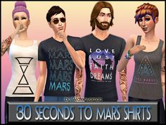Akisima Sims Blog: Thirty Seconds To Mars Shirts • Sims 4 Downloads