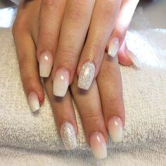 Pinterest|EmmCornett . . . . . . . French Fade nail art - Elegant gel nails with silver glitters