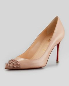 Geo Spike-Capped Red-Sole Pump, Nude by Christian Louboutin at Neiman Marcus.