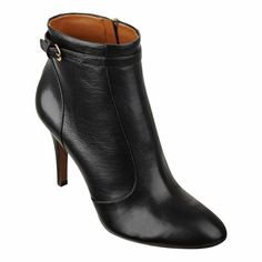 "Almond toe single sole bootie with buckle detail.  Stacked 3 1/4"" heel.  Full side zipper.  Leather upper."