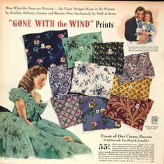 Sears fabrics ad, 'Gone with the Wind' prints, Vintage Outfits, Vintage Fashion, Fashion Fabric, 1940's Fashion, Retro Fabric, Gone With The Wind, Vintage Textiles, Vintage Love, Vintage Sewing Patterns