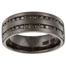Black diamond men's bandBlack rhodium over sterling silver jewelry Click here for ring sizing guide