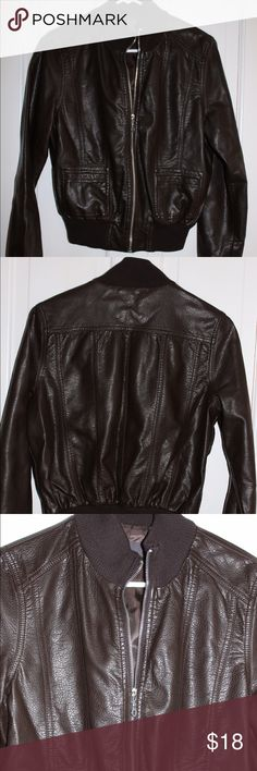 Forever 21 Faux-leather Moto jacket Brand new dark brown faux leather moto jacket. Two pockets and zipper up front, ribbed soft neck and bottom as shown in pictures. Can be dressed up or down and provides good warmth. Forever 21 Jackets & Coats Utility Jackets