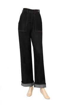 Our 1940's work pants! In Indigo denim,  they have a wide 1940's leg,  deep front pockets and a plastic button on the waistband. They are trimmed in gold thread. These jeans fit well and look swell !!!, PLEASE CHECK THE SIZING PAGE.