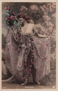 Lovely Belle Epoque Dancer Nina Barkis with Pink by Stebbing circa 1906