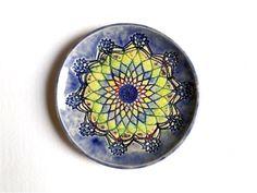 Wand Keramik Teller, Mandala Keramik Schale, psychodelische Kunst Keramik by…