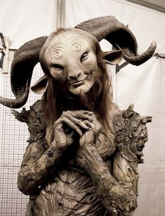 """.Doug Jones in the Faun costume during the filming of """"Pan's Labyrinth"""" (Spanish: El laberinto del fauno) written and directed by Guillermo del Toro"""