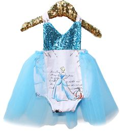 A Princess Story Blue Sparkle Tutu Romper Baby and Toddler Halloween Costume  #bellethreadspinterest