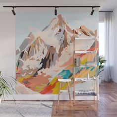 Buy glass mountains Wall Mural by artandghosts. Worldwide shipping available at … Buy glass mountains Wall Mural by artandghosts. Bedroom Murals, Diy Bedroom, Trendy Bedroom, Wall Drawing, Art Drawings, Mural Art, Abstract Landscape, Abstract Art, Abstract Paintings