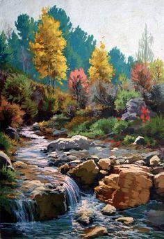 . Watercolor Trees, Watercolor Landscape, Landscape Art, Landscape Paintings, Watercolor Paintings, Oil Painting Pictures, Pictures To Paint, Art Pictures, Acrylic Art