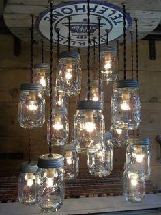 UNIQUE Public Telephone & Mason Jar Chandelier OLD WOOD-18 Light Ceiling Fixture