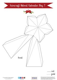 Trimcraft Advent Calendar Day 7- Free Printable Tree Star Topper Template - Front