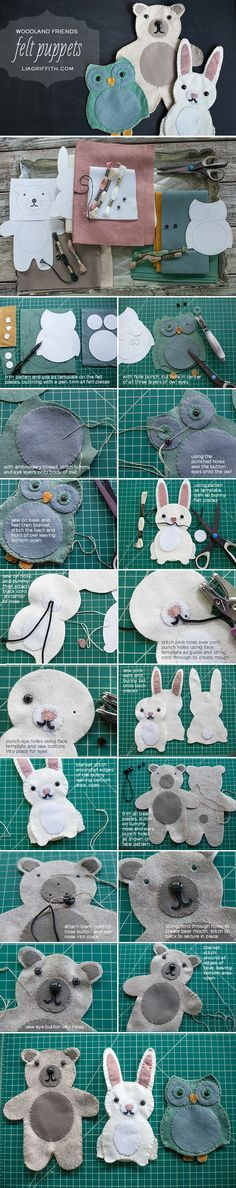 Woodland Friends DIY Felt Puppets (with free templates)