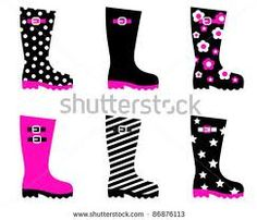 Buy Retro patterned wellington black rain boots vector by BEEANDGLOW on GraphicRiver. Retro patterned wellington rain boots isolated on white – black, pink Black Rain Boots, Rubber Shoes, Winter White, Shoes Heels Boots, Clip Art, Illustration, Pattern, Pink, Model