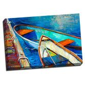 Found it at Wayfair - Boat Boats on the Piers Colorful Painting Print on Wrapped Canvas