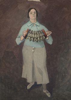 """Twentieth Century British Art by Evelyn Dunbar: """"Accordian Player, """" Modern Art, Contemporary Art, 1920s Art, True Art, Art Sketchbook, Figure Painting, Art Music, New Art, Canvas"""
