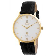 Momentus EM304G-01BG Men's Elegance White Dial Yellow Gold Steel Black Leather Strap Date Watch