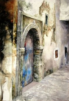Watercolor Paintings By Lars Eje Larsson - Art Collection Art Aquarelle, Watercolor Landscape, Watercolour Painting, Painting & Drawing, Watercolours, Art Et Architecture, Watercolor Architecture, Art Plastique, Painting Inspiration