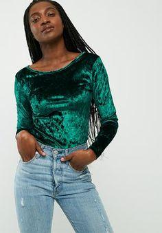 ab2ce17f755 Dailyfriday Velvet Round Neck Top T-Shirts, Vests & Camis Cedar Green Vests,