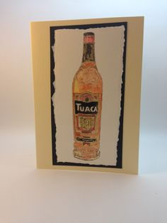 Watercolour painting of a bottle of Tuaca mounted on a cream card - £3.50 from www.dianew.co.uk