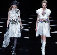 byU Designer Hiroki Uemura 2015-2016 Fall Autumn Winter Womens Runway Catwalk Looks - Mercedes-Benz Fashion Week Tokyo Japan - White Lace Ruffles Tiered Flowers Florals Roses Pussycat Bow Ribbon Outerwear Coat Jacket Skirt Frock Stripes Knit Sweater Jumper Furry Hoodie Embroidery Hat Stockings Tights Sneakers Boots Blouse Shawl Scarf Houndstooth Check Quilted Parka Poncho Marching Band Plaid Tweed
