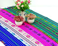 5 Table runners 10x35, Fiesta Baby Shower, Mexican Fiesta Decor, Cinco De Mayo, Mexican Style Party, Mexican Party Decor For Tables.